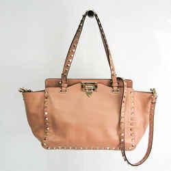Valentino Garavani Lock Studs Women's Leather Handbag,Shoulder Bag Beig BF524198