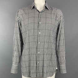 TOM FORD Size XL Black & White Checkered Cotton Button Up Long Sleeve Shirt