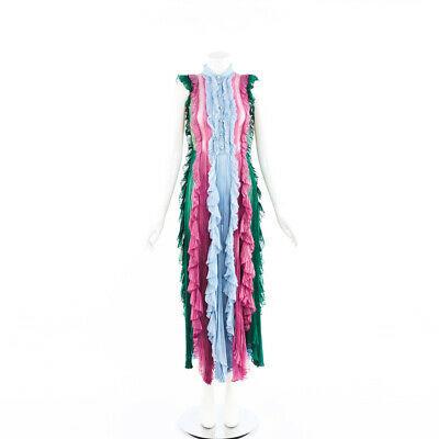 Gucci Dress Multicolor Pleated Silk Dragonfly Maxi