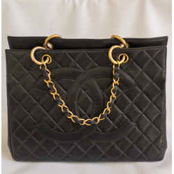 Vintage Chanel Black Quilted Caviar Tote 1996