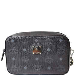 MCM Visetos Camera Monogram Leather Crossbody Bag Black