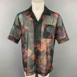 DRIES VAN NOTEN S/S 20 Size M Black & Burgundy Floral Polyester Camp Short Sleeve Shirt