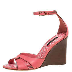 Louis Vuitton Pink Leather Wedge Ankle Strap Sandals Size 37