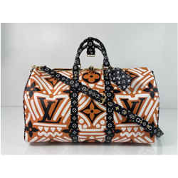 Louis Vuitton Limited Edition Crafty Monogram Keepall Bandouliere 45 in Creme Caramel Travel Duffle Bag