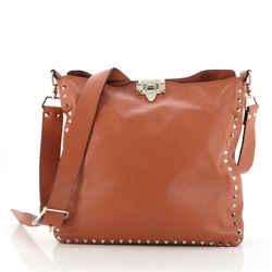 Rockstud Flip Lock Messenger Bag Leather Medium
