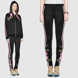 M NEW $1600 GUCCI RUNWAY Black Jersey LOGO WEB STRIPE FLORA Skinny Legging PANTS