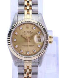 Rolex Lady Datejust Factory Diamond Dial 18K Fluted Bezel-Quickset