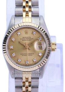Rolex Lady Datejust Factory Diamond Dial 18K Fluted Bezel-Quickset