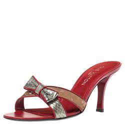 Louis Vuitton Red Monogram Satin Cherry Blossom Slides Size 38