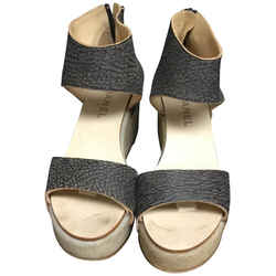Chanel Brown With Silver Nailheads Wedges Size: EU 38.5 (Approx. US 8.5) Regular (M, B) Item #: 23676104