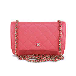 New 18s Chanel Pink Caviar Classic Quilted Woc Wallet On Chain Flap Bag Ghw
