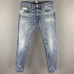 RRL by RALPH LAUREN Size 28 Light Blue Wash Selvedge Denim Button Fly Jeans