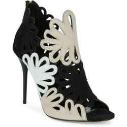 $990 Oscar De La Renta Lattice Black White Beige Jeralina Booties Heels Sz 9/39