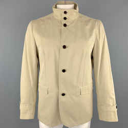 Theory Size L Khaki Cotton High Collar Belted Cuffs Buttoned Long Jacket