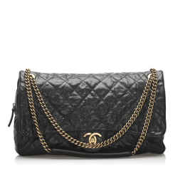 Vintage Authentic Chanel Black CC Timeless Caviar Shoulder Bag Italy