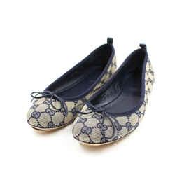 Gucci Size 8/38.5 Navy & Gray Ali Ballet Flat