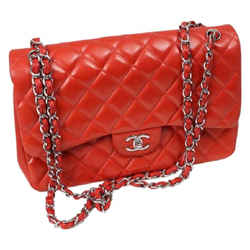 Chanel Classic Double Flap Shoulder Bag Orange Leather Authenticity Guaranteed