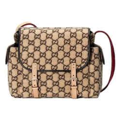Gucci Beige Shearling Guccisima GG Diaper Messenger Bag 606823