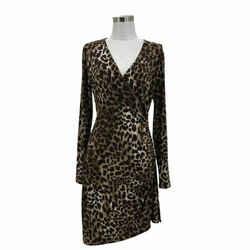 N1495 Michael Kors Designer Dress Size 6 Small Brown Cheetah Sheath Ruched Vneck