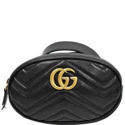 GUCCI  GG Marmont Matelasse Leather Belt Bag Black 476434