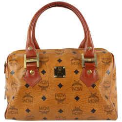 MCM Cognac Monogram Visetos Boston Bag 12mcm1230