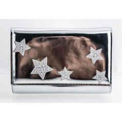 GIUSEPPE ZANOTTI Stars Metallic Leather Clutch in Silver