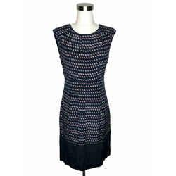 N326 Tory Burch Designer Dress Size 4 Small Blue Pink Geometric Shift Sleeveless