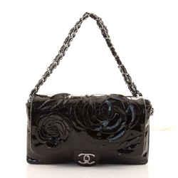 Tweed Petals Camellia Flap Bag Patent Medium