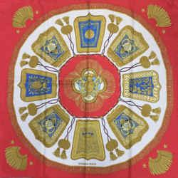 Hermes 'Poste et Cavalerie' Red Square Silk Scarf