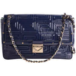 Versace Patent Leather Quilted Shoulder Bag