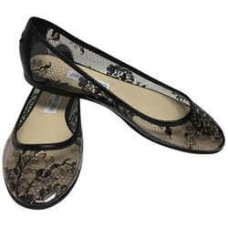 Jimmy Choo Black Lace Printed Round Flats Size: EU 39 (Approx. US 9) Regular (M, B) Item #: 23313166