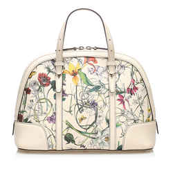 White Gucci Flora Nice Coated Canvas Satchel Bag