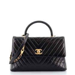 Coco Top Handle Bag Chevron Calfskin with Lizard Embossed Leather Medium