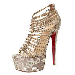 Christian Louboutin Beige/Gold Leather Spike Millaclou Cage Platform Sandals