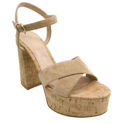 Gianvito Rossi Beige Cork and Suede Bebe Platform Sandals