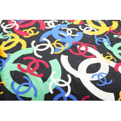Chanel Black Multicolor CC Logo Silk Scarf 314ccs222