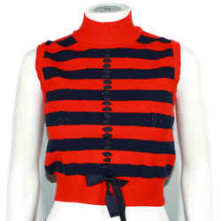 Fendi - Iconic Cropped Sweater Vest - Red Blue Stripe Athleisure Top - Us 0 - 38
