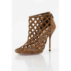 Gucci Suede Caged Sandal Booties