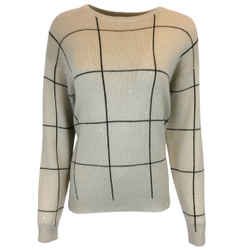 Brunello Cucinelli Beige Checkered Cashmere & Silk Knit Sweater