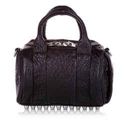 Black Alexander McQueen Rockie Leather Satchel Bag