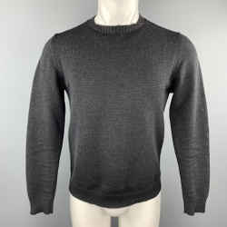 Jil Sander Size M Charcoal Knit Wool Ribbed Collar Pullover Sweater