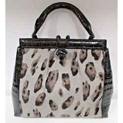 Nancy Gonzalez Gray Animal Print Pony Hair & Black Trimmed Crocodile Bag