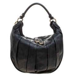 Bally Black Pleated Leather Multi Zip Hobo