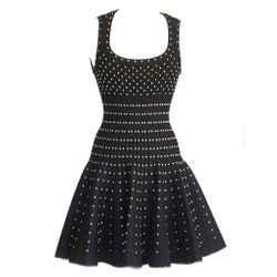 Azzedine Alaia Dress Striking Black Silver Detail Full Skirt 40 / 6 Nwt