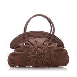 Vintage Authentic Valentino Brown Dark Brown Calf Leather Handbag Italy