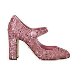 Dolce & Gabbana Pink Sequined Mary Janes Women's Shoes