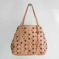 Jimmy Choo Sasha S Women's Leather Studded Tote Bag Pink Beige BF532160