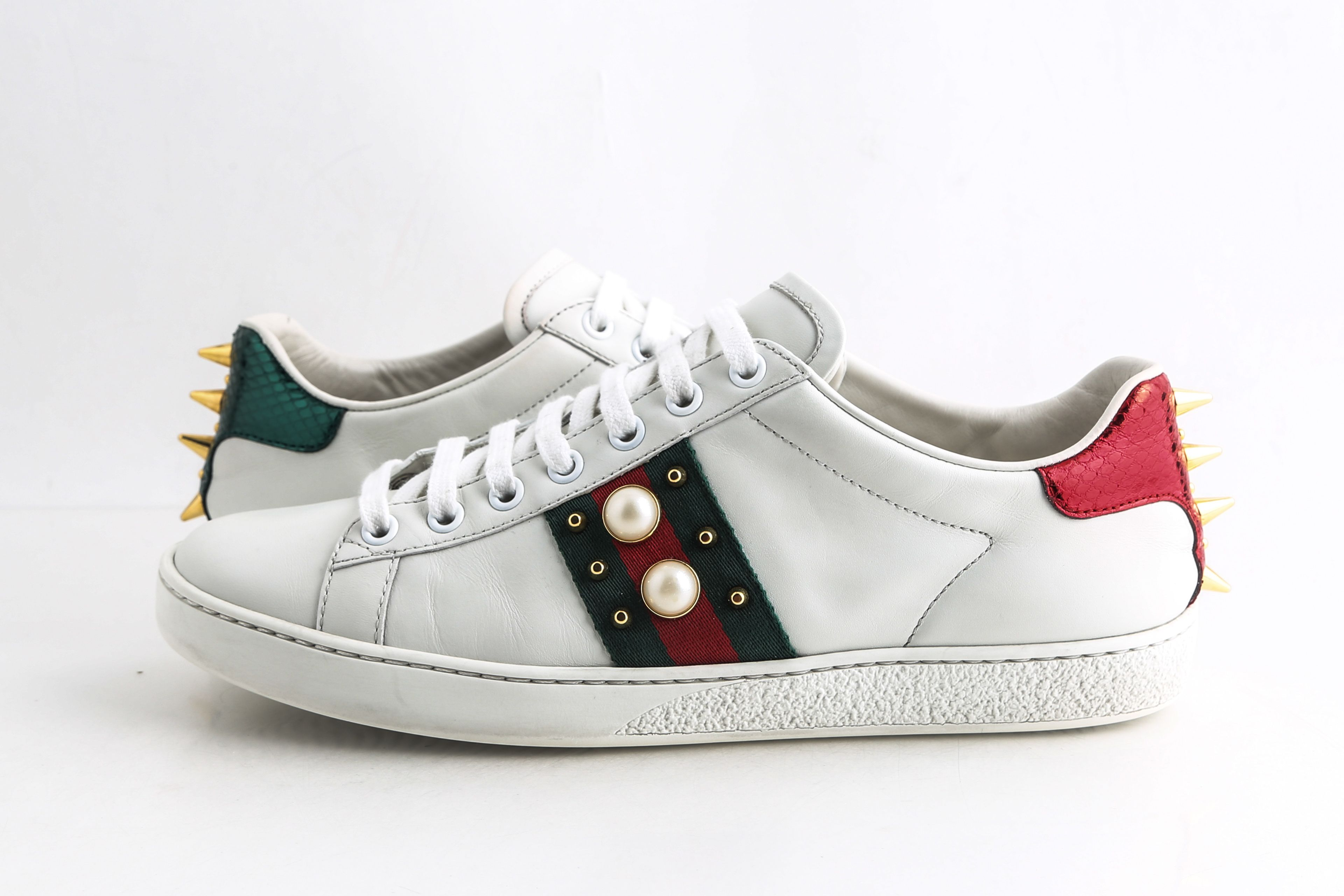 Gucci White Ace Studded Leather