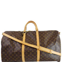 Louis Vuitton Keepall 60 Bandouliere Monogram Canvas Travel Bag Brown
