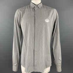 Dolce & Gabbana Size Xl Black & White Pinstripe Cotton Long Sleeve Shirt